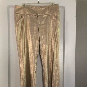 Gold lame boot cut trousers